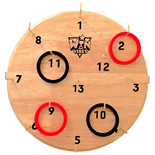 Outdoor Party Ideas For Adults (Hook and Ring Toss Game by Win Vibes - Classic Fun Hookey Game for Adults Teens and Kids - Birthday Idea for Men - Beautiful Solid Board - Easy Set-Up)