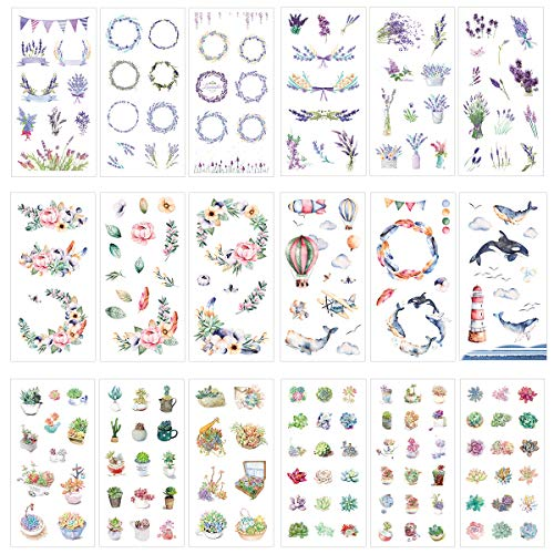 Purple Lavender Romantic Floral Flower Hot Air Balloon Airplane Whale Cute Succulents Stationery Sticker Set Handmade DIY Craft Label Scrapbooking Decoration for Diary Album