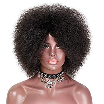 Stamped Glorious Synthetic Afro Wigs for Black Women 70s Natural Black Puff  Wigs Short Kinky Curly