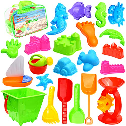 (Ohuhu 22 Pcs Beach Sand Toys Set, Beach Toys with Zippered Bag, Include Beach Molds, Sand Molds, Bucket, Beach Shovel Tool Kit, Sand Water Wheel, Animals, Castle, for Toddlers, Kids, Children Outdoor)