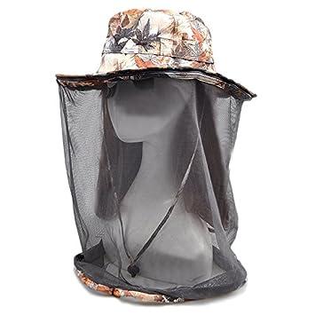 Lorcoo Mesh camuflaje Sombrero de Pesca, Apicultura Apicultor Gorro para Pesca Camping Senderismo (Verde)