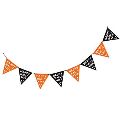 PENNANT halloween banner decorations party FREEUK P+P BUNTING 6 FOLD 9 FOOT LONG