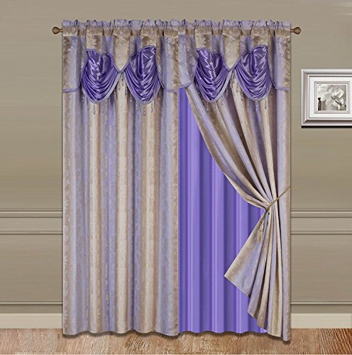 "Elegant Home Window Curtain Drapes All-in-One Set with Valance & Sheer Backing & Tassels for Living Room, Bedroom, Dining Room, and Sliding Doors - 1629 (Lilac / Purple, 120"" X 84"")"