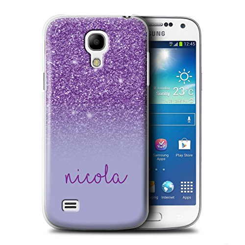 Personalized Custom Glitter Effect Case for Samsung Galaxy S4 Mini/Purple Design/Initial/Name/Text DIY Cover