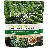 Longève Plant-based Protein Crumbles – PLAIN – (Gluten-Free, Vegan, Soy-Free, Keto, TVP) – 6 ounces