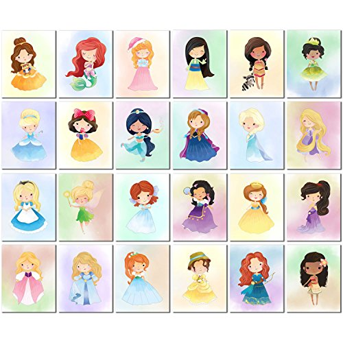 Ultimate Disney Princess and Heroine Kids Art Prints - Set of 24 Original 8x10 Watercolor (Original Disney Princesses)