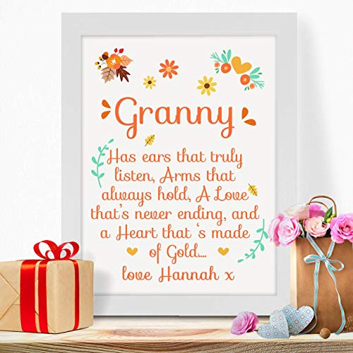 Personalised Presents Gifts for Grandmothers Grandma Nanny Granny Mothers Day Birthday Christmas from Son Daughter Kids Has Ears Poem Wall Art Home Decor Prints Posters
