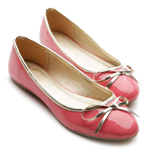 Womens Fuchsia Multi Color Shoe Ballet Ribbon Accent Flat Enamel Cute Ollio qCpwdq