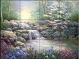 Ceramic Tile Mural - Hidden Waterfall I - by Vivian Flasch - Kitchen backsplash / Bathroom shower