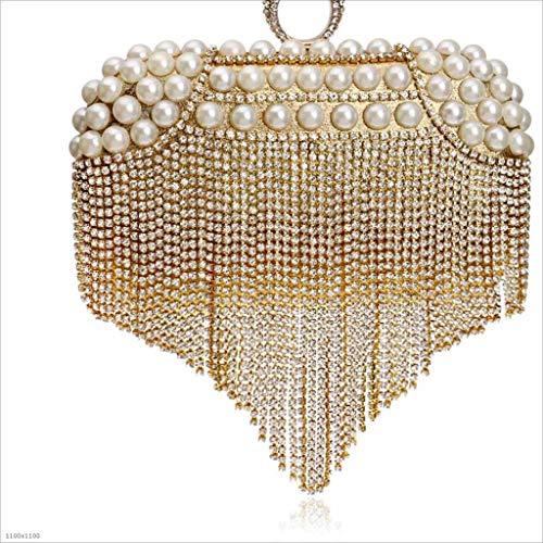 da nero Borse Borsa da per da sera donna banchetto con con frange pochette Borsa banchetti oro cqCZS8Uwxq