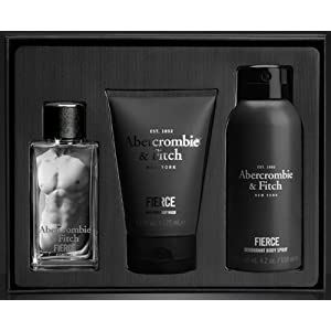 Abercrombie & Fitch Fierce Eau de Cologne Gift Set for Men (1.7 oz) Cologne, Hair & Body Wash and Body Spray