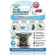 TubShroom Edition Revolutionary Tub Drain Protector Hair Catcher, Strainer, Snare, Black Chrome
