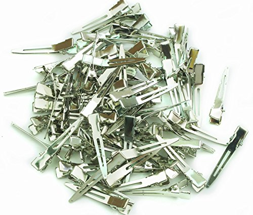 Alligator Hair Clip Single Prong Pinch Clips 1 3/4 Inch 45mm 100 pcs Silver
