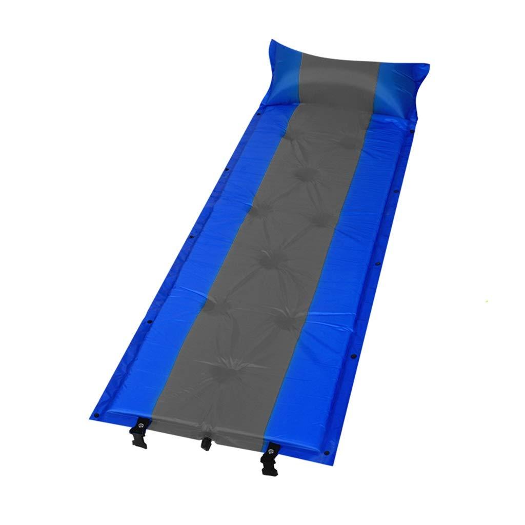 A  Tapis de Camping Auto-Gonflable de Loisirs en Plein air avec des oreillers, Matelas Gonflable Bleu de Petit Pain de Camp