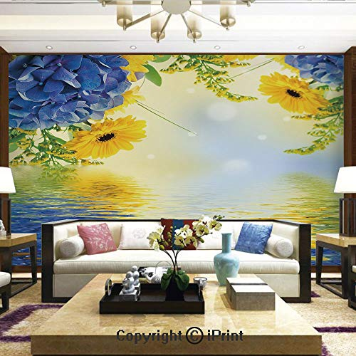 - Lionpapa_mural Removable Wall Mural Ideal to Decorate Your Dining Room,Romantic Bouquet of Hydrangeas and Asters on Water Background,Home Decor - 66x96 inches