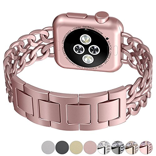 No1seller Top Stainless Steel Cowboy Style  Bracelet Watch Band for Apple Watch Series 3, Series 2, Series 1, 38 mm - Rose Gold