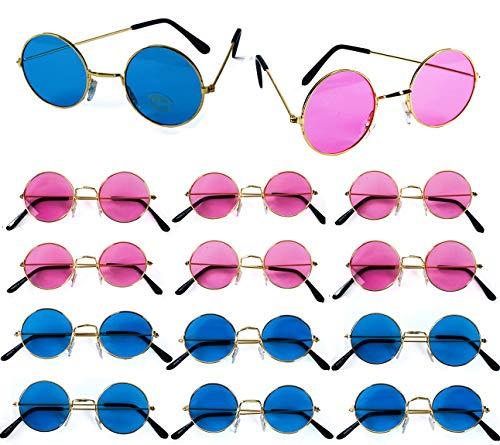 John Lennon Sunglasses – 12 Pack Retro Sunglasses – 60's Hippie Costume Accessories - Hippie Glasses- By Tigerdoe