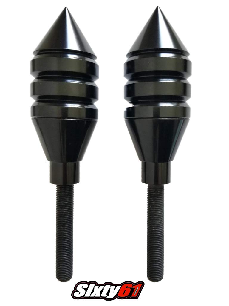 Sixty61 Spiked Black Frame Sliders for Suzuki Hayabusa 1999-2019 Includes Mounting Kit