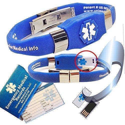 Waterproof ELITE USB blue silicone medical alert ID bracelet with 2 GB USB (Blue) by Universal Medical (Elite 2 Gb Usb)