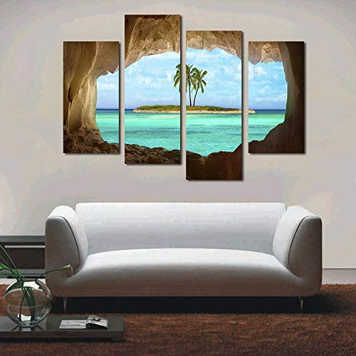 BFY Unframed Spray Printed Oil Painting An Island Coconut Tree Outside The Cave Wall Decor Art On Canvas