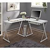 New 51'' Corner Writing Computer Office Desk - White Metal & Tempered Glass
