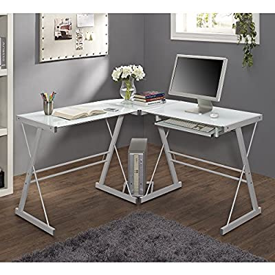 "51"" Corner Writing Computer Office Desk - White Metal & Tempered Glass - OVERALL DIMENSIONS - 51"" L x 51"" W x 29"" H Durable steel frame with powder-coated finish Polished and beveled, tempered safety glass - writing-desks, living-room-furniture, living-room - 51lcVLauZeL. SS400  -"