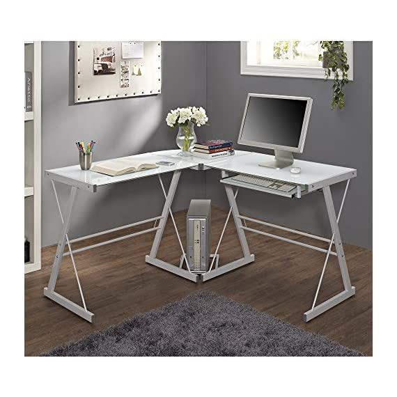 "New 51"" Corner Writing Computer Office Desk - White Metal & Tempered Glass - OVERALL DIMENSIONS - 51"" L x 51"" W x 29"" H Durable steel frame with powder-coated finish Polished and beveled, tempered safety glass - writing-desks, living-room-furniture, living-room - 51lcVLauZeL. SS570  -"