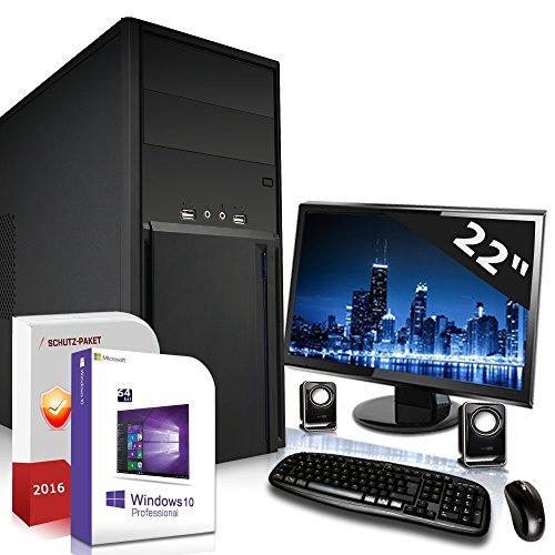Komplett PC Set Office / Multimedia mit 3 Jahren Garantie inkl. Windows 10 Professional 64Bit! - Dual-Core AMD A6-5400K 2x3,8GHz Turbo - 8GB DDR3 RAM - 1TB HDD - 22-Zoll TFT Monitor - Radeon 7540D mit 4 GB HyperMemory - 24-fach DVD Brenner - Lautsprecher - Tastatur + Maus - USB 3.0 - VGA - DVI - HDMI