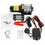 AUXMART 12V 3000lb Synthetic Winch Kits with Fairlead, Wired Control Box, Handhold Wired-Remote Switch