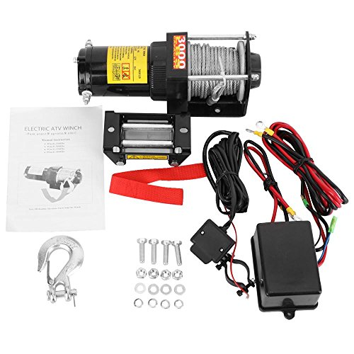 AUXMART 3000lb Winch 12 VDC with Roller Fairlead, Wired C...