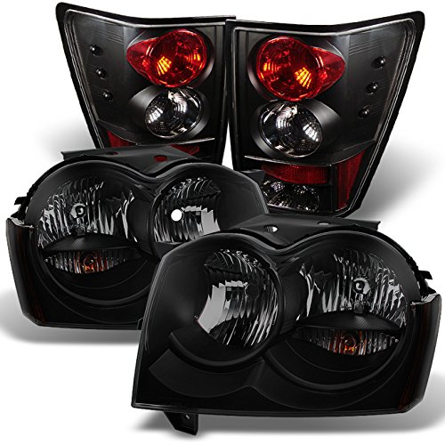For 2005-2006 For Jeep Grand Cherokee Black Smoked Headlights+ Black Tail Lights Lamps Pair Set