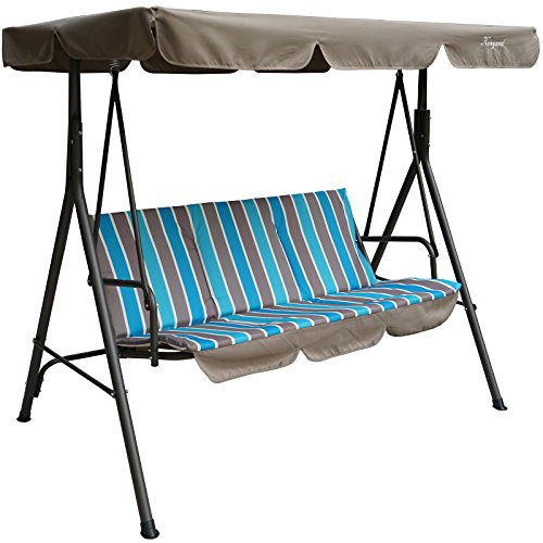 Alicia Patio Swing Chair with 3 Comfortable Cushion Seats and Strong Weather Resistant Powder Coated Steel Frame (Blue-Stripe)