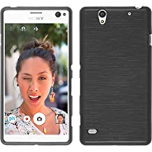 Silicone Case for Sony Xperia C4 / Dual - brushed silver - Cover PhoneNatic + protective foils