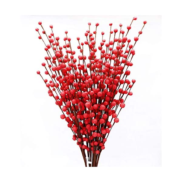 MISSWARM 10 Pieces 29.5″ Long of Plum Blossom Blooms Artificial Flowers Spray for Wedding Bouquet Posy Table Arrangement for Home Office Party Hotel Restaurant Patio or Yard Decoration(Red)