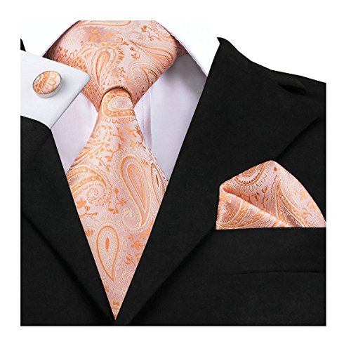 (Dubulle Paisley Ties for Men Orange Silk Ties Pocket Square Cufflinks Set Jacquard Neckties and Handkerchief Fashion Mens Tie)