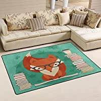 LORVIES Fox In Glasses With Many Books Area Rug Carpet Non-Slip Floor Mat Doormats for Living Room Bedroom 31 x 20 inches