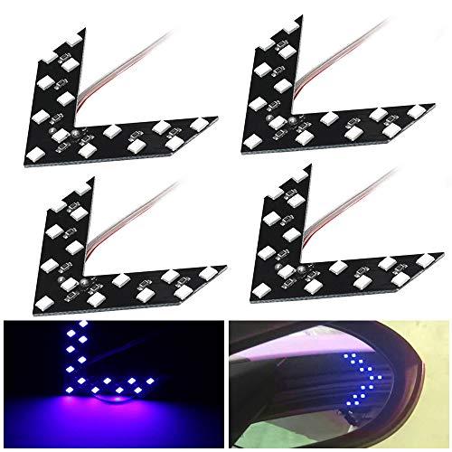 (shunyang 14 SMD LED Arrow Panel For Car Rear View Mirror Indicator Turn Signal Light Car LED Rearview Mirror Light Blue 4Pcs)