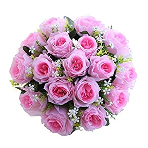 Alelife 18Head Artificial Silk Roses Flowers Bridal Bouquet Rose Home Wedding Decor Party Centerpieces Bridal Party Home Room Decor 57