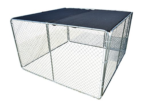 Nickanny's UV Rated 85% Block Cover For Dog Kennel Sun Block Shade Top with Grommets and Cable Ties For Installation (10 x 10, Black) (Dog Kennel Shade)