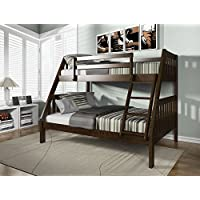 Major-Q Espresso Finish Wood Frame Twin over Full Bunk Bed with Reversible Ladder (7037120)