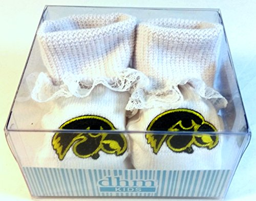 Iowa Hawkeyes Boxed Baby Booties with Lace