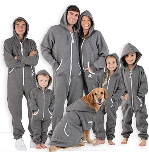 Footed-Pajamas-Family-Matching-Charcoal-Gray-Footless-Hoodie-One-Piece