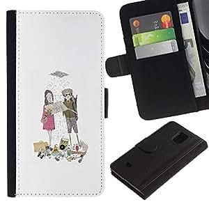 All Phone Most Case / Oferta Especial Cáscara Funda de cuero Monedero Cubierta de proteccion Caso / Wallet Case for Samsung Galaxy S5 Mini, SM-G800 // Sweet Love Boyfriend Rain