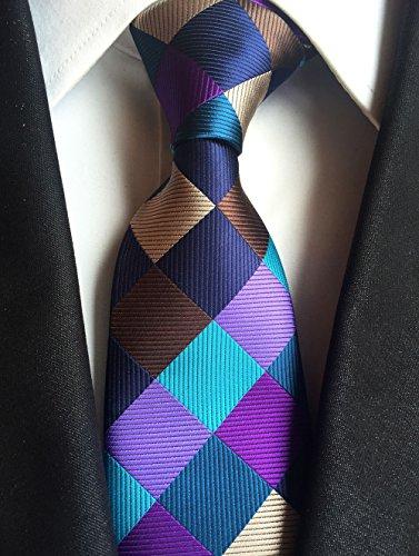 New Classic Geometric Brown Blue JACQUARD WOVEN 100% Silk Men's Tie - Jojo Armani