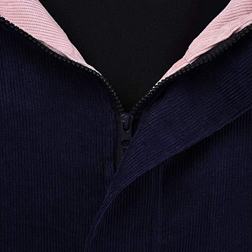 Cappotti Lunga Velluto Cima Giacca In Delle Giacca Vento womens A Blu Damark Cappotto Manica Giacche Delle Patchwork Outwear Caldo A Di Oversize Donne Coste Signore Marino Inverno E C5zOO0xq