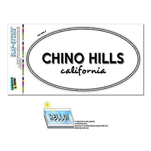 Graphics and More Euro Oval Window Bumper Laminated Sticker California CA City State Cal - Cut - Chino - Hills Ca Of Chino City