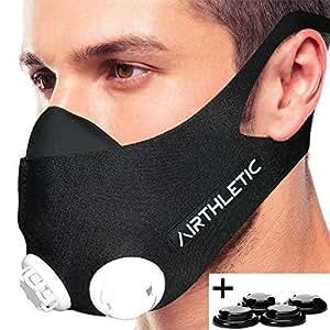 AIRTHLETIC Training Mask con tapas blancas y negras - Máscara de entrenamiento profesional para entrenamiento en altitud