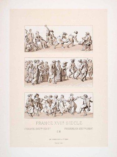 1888 Chromolithograph France 17th Century Dance Peasant Harvest Costume Farmer - Original Chromolithograph