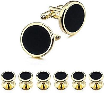 Ducomi - Conjunto de Gemelos y 6 Botones de Camisa para Hombres - Accesorio Elegante Ideal para Reuniones de Negocios y Ocasiones Especiales (Gold/Black): Amazon.es: Joyería
