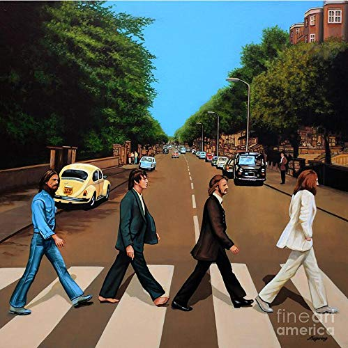 - Orclo Art Decor Canvas Wall Art The Beatles Abbey Road Abstract Pictures Printing Pictures Painting on Retro Wood Background Canvas Prints Gallery Wrap Home Office Wall Decoration Colorful 16x16inch